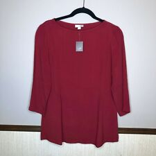 J Jill XS Sepia Red A Line Boat Neck Tunic Blouse 3/4 Sleeve NWT