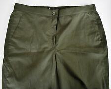 New MARINA RINALDI TOWN Olive Green Tapered Leg Cuffed Pants Trousers US-14