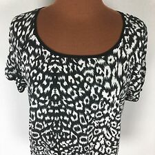 Gallery Top Women's 16 Black White Animal Print Short Sleeves Shirt Blouse E92