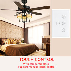 Smart WiFi Fan Lamp Switch Voice Remote Touch Control Timer Function In-Wall