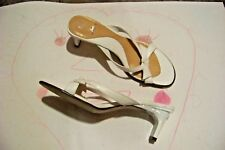 womens fioni white bow strap heels shoes size 5 1/2