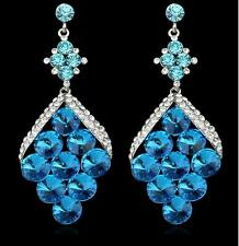 "3.19"" Turquoise Austrian crystal Pageant prom bridal wedding earrings jewelry"