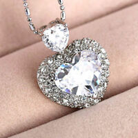 Brand New 925 Sterling Silver plated Necklace Crystal AB 18 mm Heart Crystals-UK