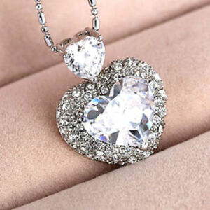 New-925 Sterling Silver plated Heart Necklace Crystal AB-18 mm Swarovski Element