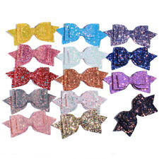 "10PCS 13CM 5"" Big High Quality Boutique Glitter Synthetic Leather Hair Bows"