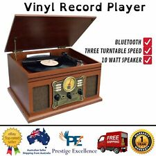 Bluetooth Turntable Vinyl Record Player Cassette Mp3 Radio CD AUX Retro Stereo