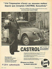 PUBLICITE CASTROL HUILE 2 CV CITROEN RALLYE MONTE CARLO DE 1960 FRENCH AD PUB