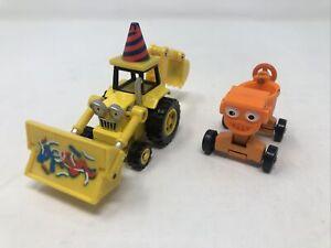 Lot of 2 Bob The Builder Die-Cast Scoop Backhoe Tractor & Dizzy Cement Mixer
