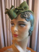 Classy 40'S Olive Green Felt Hat W/Two Front Bows & Veil