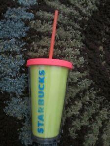 STARBUCKS Neon Yellow Coral Logo Summer Cold Cup Acrylic TUMBLER 16 Oz Straw