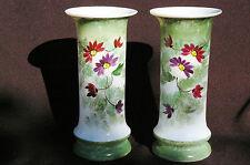 Paire 2 Vases en opaline XIXème - Décor floral peint main