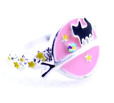 Silver tone enamel universe, cat and star ring, UK Size P
