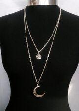 "A Crescent Moon Sun Charm Layered Necklace Minimalist Silver Tone 30"" Chain"