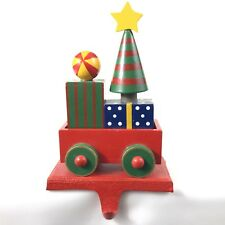 Cast Iron Christmas Stocking Hanger Red Wood Tree and Presents In Train Car