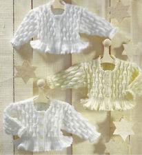 """Baby  Girl  Cardigan/Jacket 16 - 28"""" Frilly Peplum DK Knitting Pattern"""
