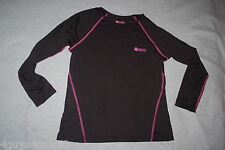 Womens COMPRESSION PERFORMANCE THERMAL Black Pink L/S CREW NECK Shirt M 8-10