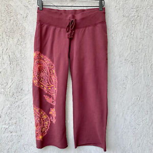 NWT Lucky Brand Knit Boho Embroidered Floral Paisley Crop Sweatpants XS Lounge