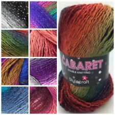 5 x 100g Eylul Knitting Wool//Yarn Black With Red Sparkles