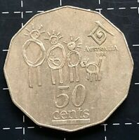 1994 AUSTRALIAN 50 CENT COIN - YEAR OF THE FAMILY ERROR WIDE DATE VARIETY