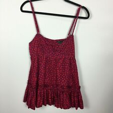 Marc Jacobs 4 Shirt Top Popover Red Purple Print Adjustaable Straps Ruffle Hem
