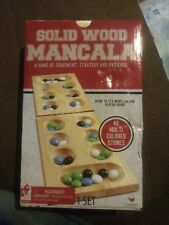 Cardinal Games Solid Wood Mancala 48 Multi Colored Stones Strategy Patience NIB