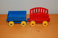 Lot of 2 Vintage Lego Duplo Train Cars w/ Topper Accessory