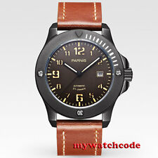 43mm Parnis coffee dial PVD Sapphire Glass 21 jewels miyato Automatic mens Watch