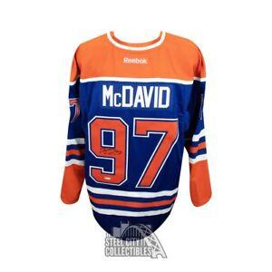 Connor McDavid Autographed Blue Edmonton Oilers Authentic Reebok Jersey - UDA