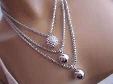 Collier Damen Hals Kette Modekette Modeschmuck kurz Silber Strass 3 x Kugel