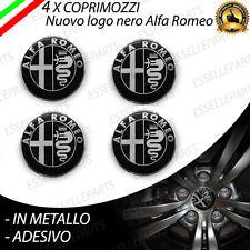 4 X COPRIMOZZI ADESIVI ALFA ROMEO 159 LOGO FREGIO STEMMA NERO IN METALLO
