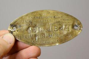 1920s Jaeger Machine Company Brass Badge Antique Engine Plate Columbus Ohio