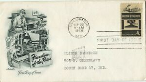 USA 1958 4c Freedom of The Press FDC addressed @D2371