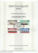 ALLEMAGNE FEDERALE, RFA, 1977, BATEAUX, 4 timbres, 776/779, DOCUMENT 1° JOUR