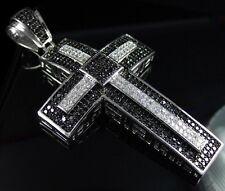 NEW $349 Mens BLACK & WHITE Simulate Diamond 3D HIPHOP CROSS Jesus Piece Pendant