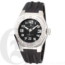 Charles Hubert Mens Quartz Wrist Watch Black Rubber Band Date 3792