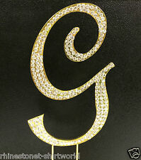 "GOLD Plated Rhinestone  Monogram Letter ""G""  Wedding Cake Topper  5"" inch high"