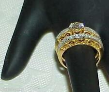 QVC Sterling Gold Clad 2.00ct CZ Heart Filigree Hearts 2 Ring Wedding Set Band