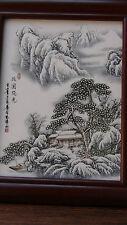 """ANTIQUE 20C CHINESE PAINTED PORCELAIN PLAQUE """"WINTER LANDSCAPE ,VILLAGE SCENE"""""""