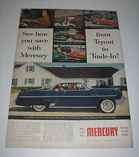 Magazine Vintage Car Ad 1953 Automobile Mercury Monterey 2-door Hardtop Blue