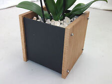 Oak Slate Design Medium Plant Pot with Liner - Modern Contemporary Style