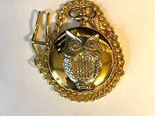 Owl TG124 Pewter on a Gold Pocket Watch Quartz fob