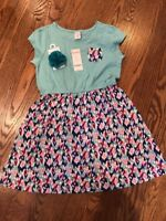 NWT GIRLS GYMBOREE MIX N MATCH GREEN PINK HEART DRESS WITH HAIR ACCESSORY Gym 22