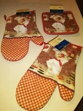 New listing New 2 Oven Mitts & 2 Pot Holders Kitchen Bar Italian French Chef Red Brick Cook