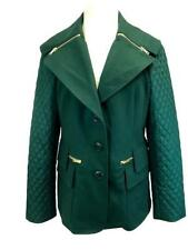 Carlisle Parka Coat Green Wool Cashmere Blend Lined 3-Button Front V-Neckline 10