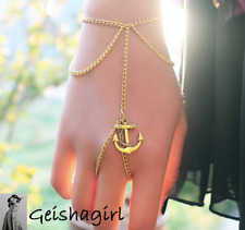 Gold Chain Link Finger RingChain Anchor Harness Slave Bracelet BangleUK Sell