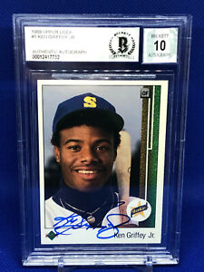 1989 Upper Deck #1 Ken Griffey Jr. BGS 10 auto RC Rookie HOF!