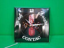 "VINTAGE Pam Bubble Glass Clock, 12""x12"" Contac Cold Medicine, Working"