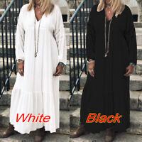 ZANZEA Damenmode V Neck Langarm Kleid Maxikleid Lose Oversize Freizeitkleid Rock