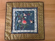 ORIENTAL EMBROIDERED SILK  BEAUTIFUL ART RARE VINTAGE NEVER USED BUY FOR XMAS