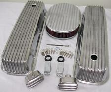 """Big Block Chevy Finned Valve Cover Kit w 12"""" Washable Air Cleaner & Breather PCV"""